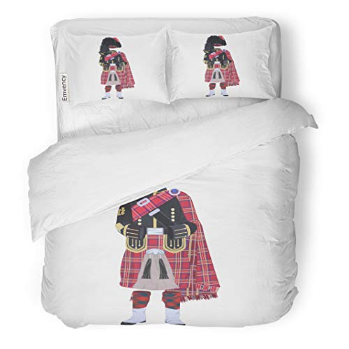 Semtomn Decor Duvet Cover Set King Size Scottish Traditional Piper Uniform Regional Dress The Highlands 3 Piece Brushed Microfiber Fabric Print Bedding Set Cover