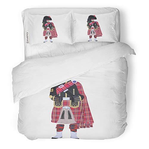 (Semtomn Decor Duvet Cover Set King Size Scottish Traditional Piper Uniform Regional Dress The Highlands 3 Piece Brushed Microfiber Fabric Print Bedding Set)