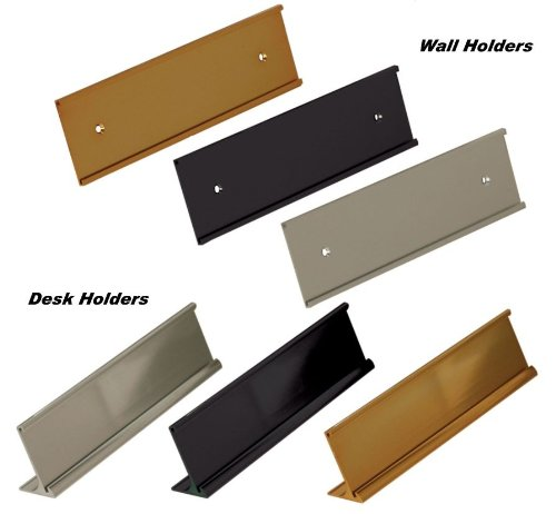 (Office Name Plate Holders - Fits Standard Size 2x8, Goes on Wall or Desk, choose color and type)
