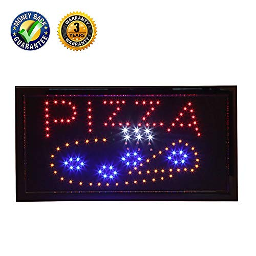 LED Pizza Sign,Anrookie (19x10 inch 110v On/Off with Chain) Neon LED Sign Open Pizza,Animation Mode, for Business, Walls, Window,Pizza Shop