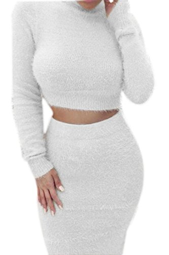 Women Elegant Long Sleeve High Neck Slim Crop Top Bodycon Skirt Knit Cardigan Sweater Suit Set White S
