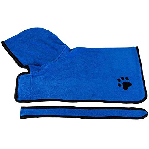 Pet Dog Drying Bath Towel Absorbent Shower Hooded Bathrobe with Waist Belt,Blue,60 cm