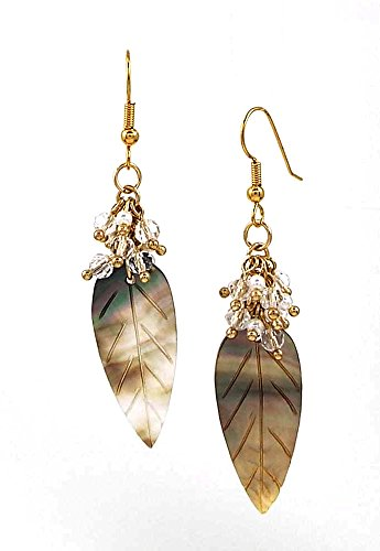 Long Carved Mother of Pearl Shell Leaf Dangle Earrings with Cluster Crystal Dangles