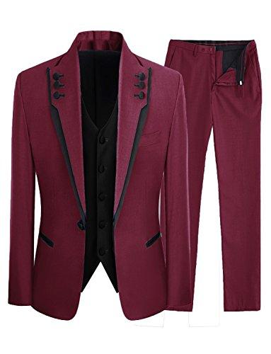 - Lilis Men's Fashion Gray 3 Pieces Men Suits Wedding Suits One Button Groom Tuxedos