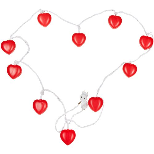 8' Heart Light Set - Cashco1000 VALENTINE'S DAY red hearts STRING LIGHTS party indoor outdoor patio porch 8 ft