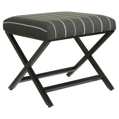 Modern Metal X Base Ottoman Charcoal Stripe Black - HomePop174; Black by HomePop
