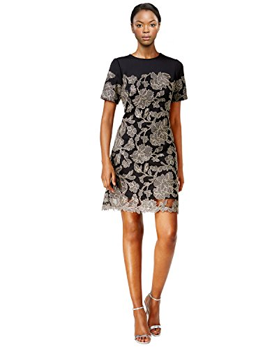 Tadashi Shoji Metallic Floral Print Illusion Cocktail Dress
