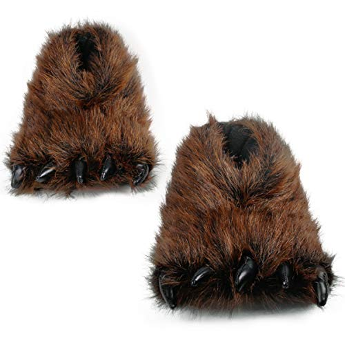 Bear Claw Slippers | Cute Animal Claw Slippers | Cozy Fluffy Bear Paw Slippers | Funny Adorable Monster Cosplay Costumes Slippers (Womens 8.5-10/Mens 7-8.5, Brown Paw) -