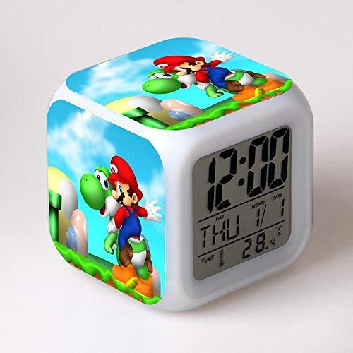 y Figures Super Mario Bro Night Clock Desk LED Digital Lamp Laptop Anime Action Figures Luigi Clock Kids Toys Wario Waluigi Toys 1 PCs ()