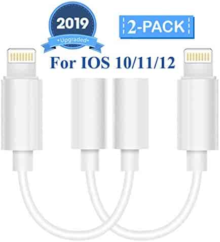 Kacul Lighting to 3.5mm Headphone Jack Adapter Aux Cable Compatible with X/XS/Max/XR 7/8/8Plus iOS 10/11/12 Plug and Play 2Pack