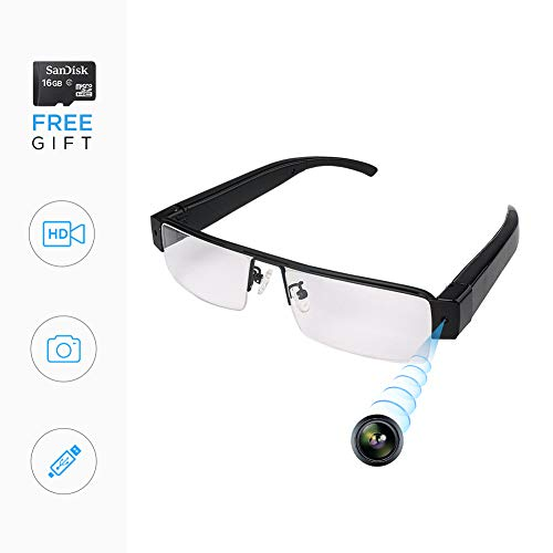 Spy Glasses with Hidden Camera Glasses,Video Recording, Mini Camera Digital Video Recorders Glasses Camera, Spy Recorder DVR Outdoor Sports Camera, USB Charger, 16G Card Gift ()