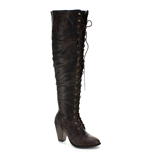 High Riding Chunky Boots Brown Forever Lace Over The Knee Women's up Heel 6q5Cxz8w