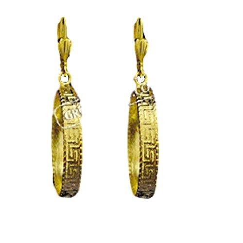 Ancient Greek Gold Overlay Greek Key Earrings 25mm, Made In Greece ()