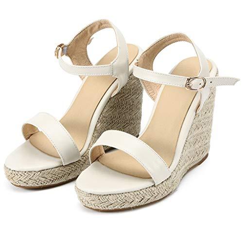 - Yucode Women Buckle Strap Adjustable Ankle Strap High Heel Fashion Wedge Platform Sandals Beach Shoes Beige