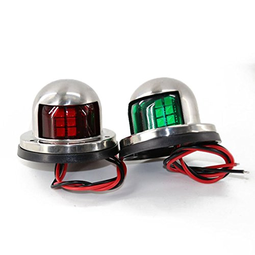 Adealink 1 Pair Marine Boat Yacht Pontoon 12V Stainless Steel LED Bow Navigation Lights by Adealink