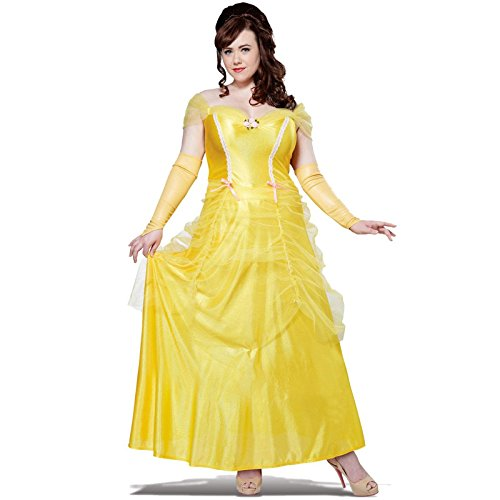 Belle Halloween Costumes Adults (California Costumes Women's Plus-Size Classic Beauty Fairytale Princess Long Dress Gown Plus, Yellow, XXX-Large)