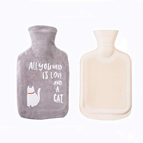 Hot Water Bottle with Fine Plush Cover,Premium Classic Rubber Hot Water Bottle w/Cute Cat Cover Great for Pain Relief,Hot and Cold Therapy (1 Liters,Gray,6.3