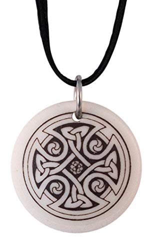 (Round Celtic Cross Pendant | Porcelain Medal on Braided Cord for Irish and Scottish Gift)