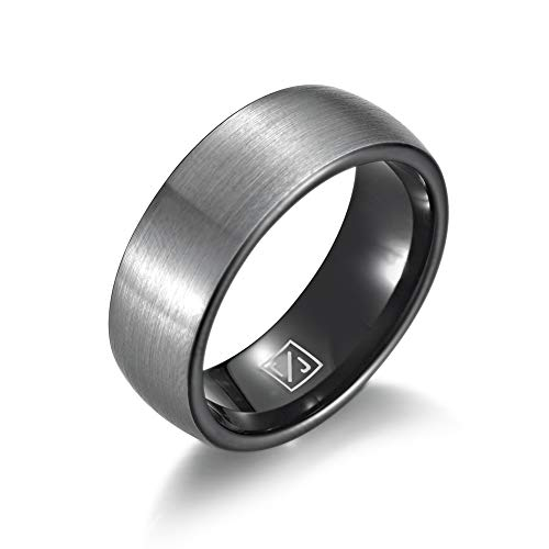 Luxffield Basic 8mm Tungsten Carbide Wedding Band Ring for Men with Black Plated Enamel Domed Size ()