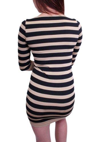 Stripes Beige Neck Tunic 4 Sleeve Bonus wide 3 Women's wqHZg5
