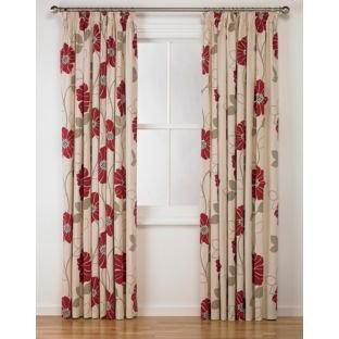 Red Curtains amazon red curtains : Jessica Pencil Pleat Curtains 168x183cm - Cream/Red.: Amazon.co.uk ...