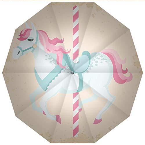 - 10 Ribs Travel Umbrella UV Protection Auto Open Close Horse Decor,Vintage Carousel Horse Childhood Circus Joyful Amusement Park Girls Windproof - Waterproof - Men - Women -Lightweight- 45 inches