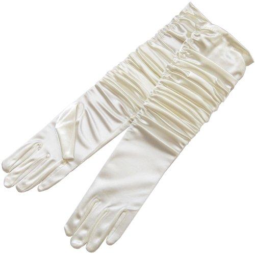 (ZaZa Bridal Gathered Shiny Stretch Satin Dress Gloves-One Size Fits Most-Ivory)