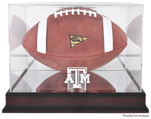 Texas A&M Logo Football Display Case | Details: Mahogany, Mirror Back, Bottom (Engraved Football Display Case)