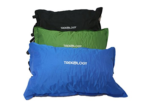 Trekology Self Inflating Camping/Lumbar Pillows - Compressible, Inflatable, Comfortable Air Travel Pillow Cushion for Back Support, Sleeping, Hiker, Backpacking, Camp, Outdoor, Rest