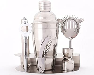 Premium Stainless Steel Bar Shaker & Cocktail Mixing Set - Includes: Bottle Opener, 500ml Silver Cocktail Shaker, Strainer, Ice Tongs, Compact Stand, and More - Bonus: Free Cocktail Recipes eBook