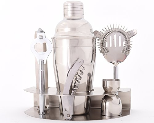 Premium Stainless Steel Bar Shaker & Cocktail Mixing Set - Includes: Bottle Opener, 500ml Silver Cocktail Shaker, Strainer, Ice Tongs, Compact Stand, and More - Bonus: Free Cocktail Recipes eBook by Licentia Homeware