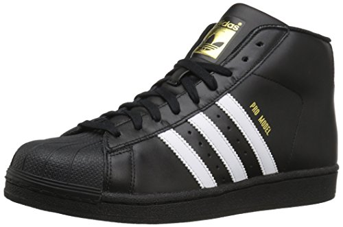 adidas Originals Men's Pro Model Running Shoe, Black/White/Metallic/Gold, (10 M US)