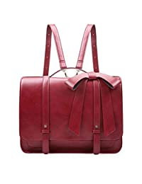 ECOSUSI Ladies Briefcase PU Leather Laptop Backpack Shoulder Satchel Computer Crossbody Bag with Detachable Bow, Wine Red