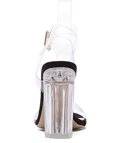 Pasarela Mujeres Nuevo Altos Abierta Linyi Moda Tacones Grueso Cristal Transparente Sandalias Zapatos Verano Punta Tacón Black De 5dFn4Fv