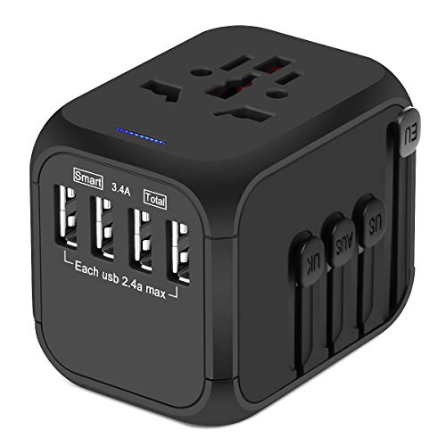 Upgraded Universal Travel Adapter, Castries All-in-one Worldwide Travel Charger Travel Socket, International Power Adapter with 4 USB Ports, AC Plug for Over 150 Countries, Travel Accessories, ()