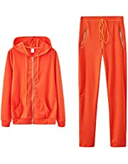 Women'S 2 Pieces Solid Outfits Drawstring Sexy Sport Jogger Set Casual Long Sleeve Zipper Hoodie Jacket