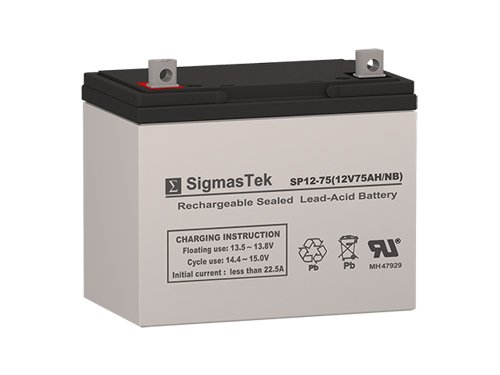 SigmasTek SP12-75 NB - 12V 75AH NB SLA Battery - Replaces: Power Sonic PS-12750, Universal Power UB12750 (45821), Pride PHC 10, PHC 1 by SigmasTek