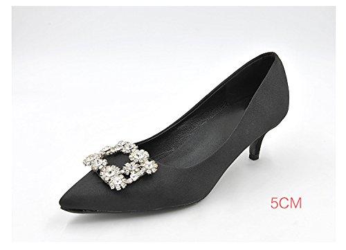 39 cómodo agua perforación color con negro versátil de de talón alto agua y colores decoradas alta lisos Heel de La Punta perforación de zapatos Shoes 5cm UwY4qa