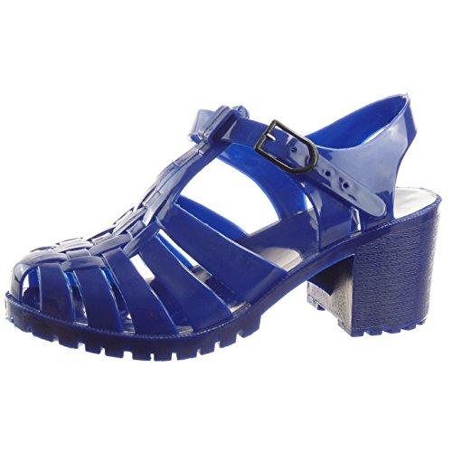 Sopily - Sapatos Da Moda Sandálias Femininas Aberto Azul Brilhante Multi-freio