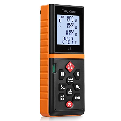 Tacklife Advanced Laser Measure 131 Ft Digital Laser Distance Meter with Mute Function Large LCD Backlit Display Measure Distance,Area and Volume,Pythagorean Mode Battery Included Black&Orange