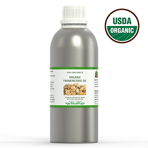 USDA Certified Organic Essential Frankincense Oil – 1 Kg (32 OZ) - 100% Pure Natural Premium Grade Oil for Aromatherapy, Hair Care, Skin Care, Glowing Skin by SVA Organics