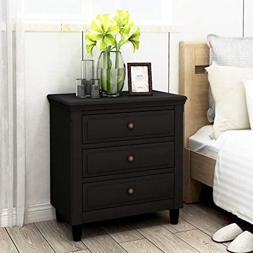 Bellemave 3-Drawer Nightstand, Wood Bedside Table Cabinet with Solid Pine Wood Legs, Black