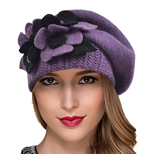 Ruphedy Women French Berets - Classic Wool Beret Beanie Winter Hats Hy022 (Hy023-Purple) (Knitting Felted Hats)