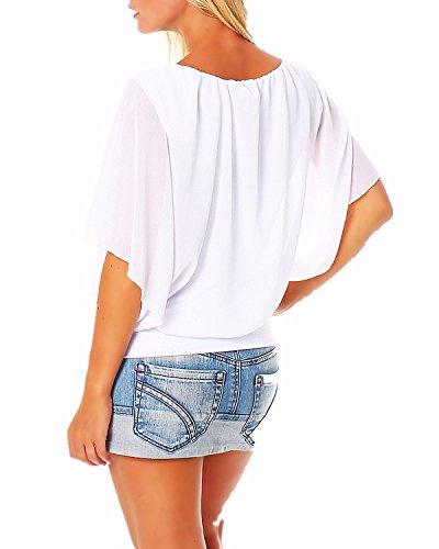 StyleDome Blusa Camiseta Casual Elegante Verano Playa Chiffón Mangas Cortas Morcego para Mujer Blanco