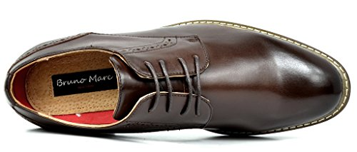 Bruno MARC PRINCE-16 Men's Oxford Modern Classic Brogue Lace Up Leather Lined Perforated Dress Oxfords Shoes Dark-Brown Size 10.5