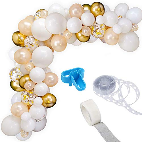 White Gold Balloon Garland Kit, 105PCS 12Inch Balloon Garland Including Chrome Gold, White, Champagne Gold Confetti Balloons Decorations Ideal for Wedding Birthday Baby Shower Bridal Party