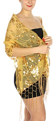 Evening Shawls And Wraps for Dresses, Lightweight Metallic Fishnet Scarf, Lurex diamond fishnet shawl, Hearts floral sequined Gold ()
