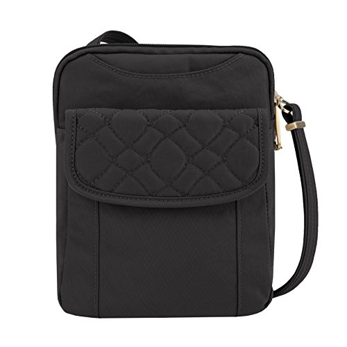(Travelon Anti-theft Signature Quilted Slim Pouch Bag, Black)