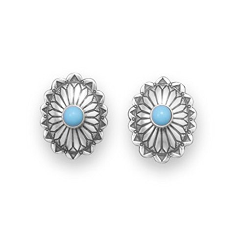 Sterling Concho - Concho Style Stud Earrings with Stabilized Turquoise Sterling Silver