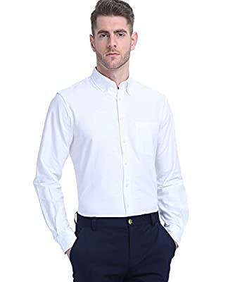 Men's Long Sleeves Button Down Solid Shirt for Casual Business